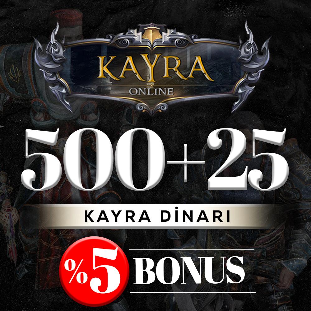 500 KAYRA DİNARI (%5 BONUS) 500+25=525 DİNAR