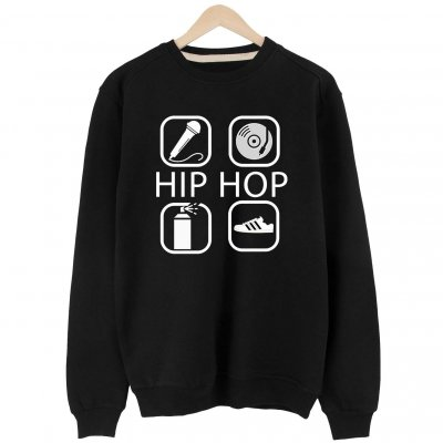 4 icon Hip Hop Basic Sweatshirt (siyah)