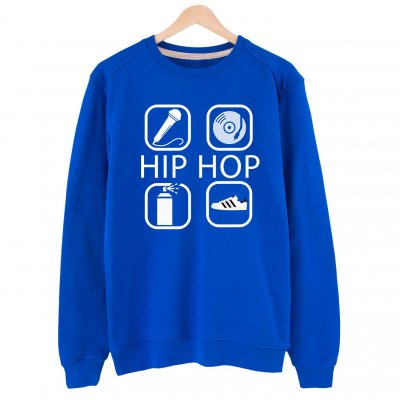 4 icon Hip Hop Basic Sweatshirt (mavi)