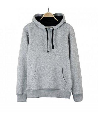 Basic Gri Kapşonlu Sweatshirt Hoodie  (3 iplik)