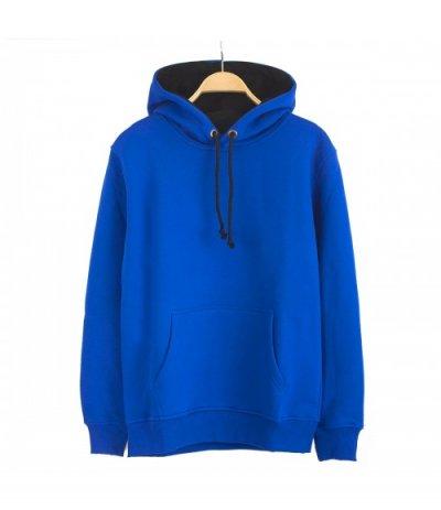 Basic Kobalt Mavi Kapşonlu Sweatshirt Hoodie  (3 iplik)