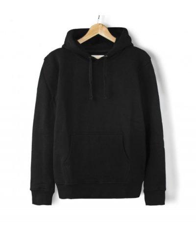 Basic Kapşonlu Sweatshirt Hoodie Siyah  (3 iplik)