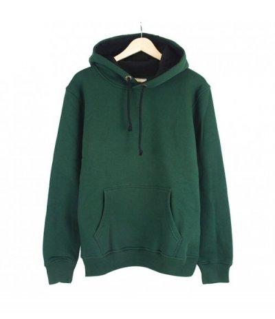 Basic Yeşil Kapşonlu Sweatshirt Hoodie  (3 iplik)