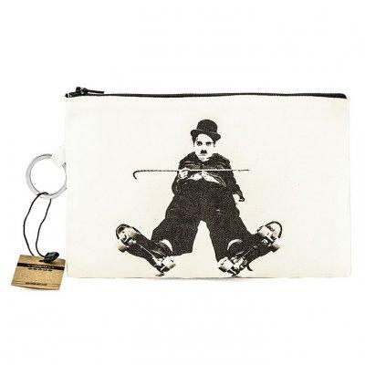 Charlie Chaplin Skater Bez Cüzdan Clutch El Çantası