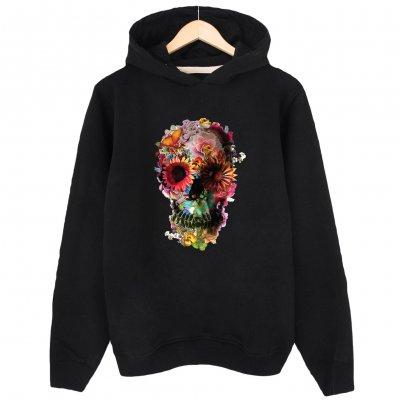 Flower Skull Kapşonlu Sweastshirt Hoodie