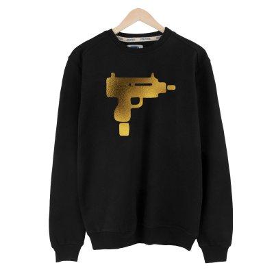 Gold Uzi Siyah Basic Sweatshirt