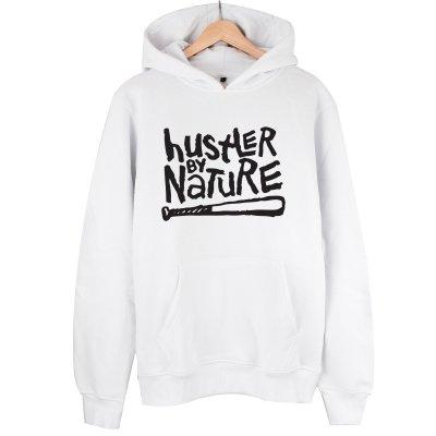 Hustler By Nature Beyaz Kapşonlu Hoodie