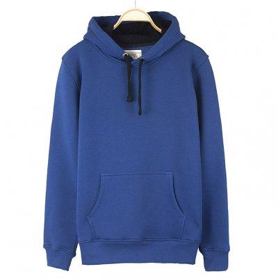 Mavi Kışlık Kalın Kapşonlu Erkek Sweatshirt Hoodie