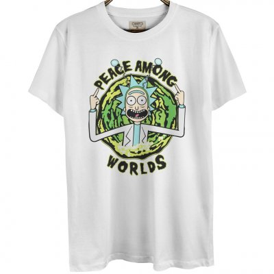 Rick And Morty Peace Among Worlds Beyaz Erkek T-Shirt