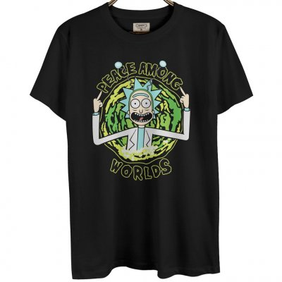 Rick And Morty Peace Among Worlds Siyah Erkek T-Shirt