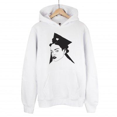 Rihanna Sweatshirt Kapşonlu (Beyaz)