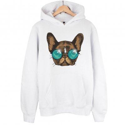 Sunglasses Dog Kapşonlu Hoodie Sweatshirt