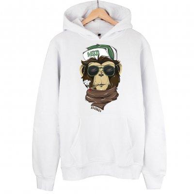 Weed Monkey Kapşonlu Hoodie Sweatshirt