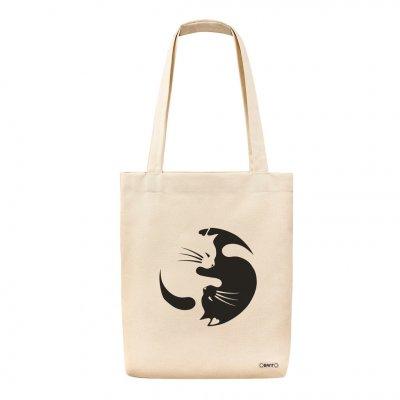 Yin Yang Kedi Tote Bag Bez Çanta